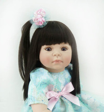 20 inch 50cm Silicone baby reborn dolls Children's toys beautiful sky blue princess dress hair girl