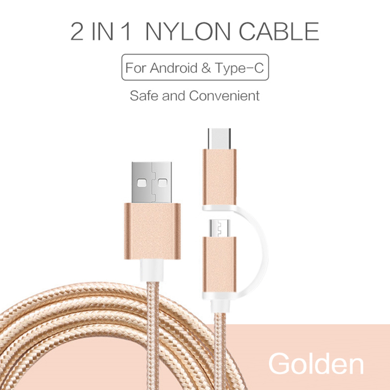2 in 1 Type-C 5V 2A USB Micro Cable Quick Charge Nylon Line and Nylon Plug Cord Data Sync Wire For Xiaomi Lenovo Lemall charger