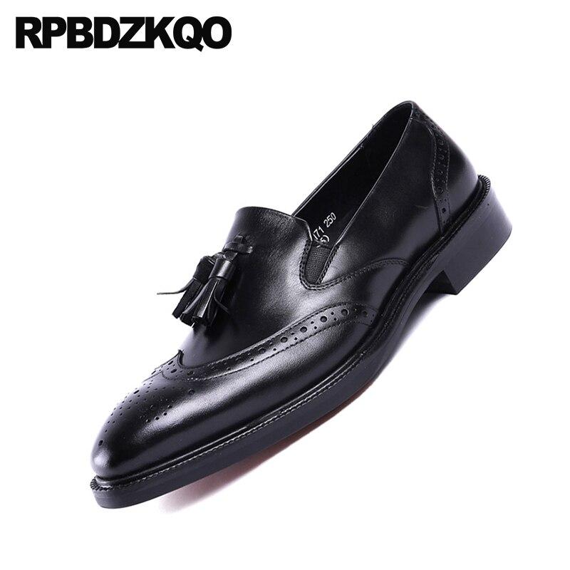 Britânico Sapatos marrom Genuíno Vintage Estilo Homens Marrom Vestido Dedo Couro Formal Brogue Do De Itália Real Borla Preto Nas Italiano Preta Pontas Asas Das Pé Wqwz4fO