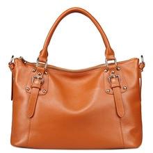 ผู้หญิงCowhideกระเป๋าถือถุงสิริใหญ่หนังแท้สีดำ/สีน้ำตาล3p0863