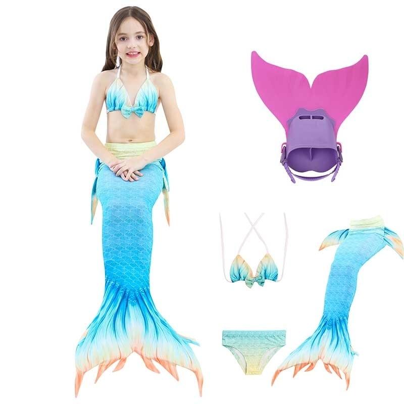 Nouveau enfants maillots de bain filles queue de sirène Bikini ensemble Cosplay qualité Monofin nagable bleu enfants vêtements de plage de natation