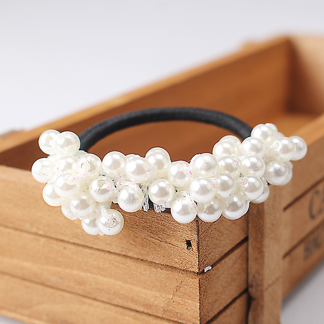 Women Hair Accessories Pearls Beads Headbands Ponytail Holder Girls Scrunchies Vintage Elastic Hair Bands Rubber Rope Headdress 5