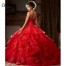 bc6884673 Oro Organza Quinceanera Vestidos 2019 cuentas De cristal en cascada  volantes vestido De baile dulce 16