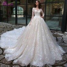מדהים אפליקציות קפלת רכבת תחרה אונליין חתונה שמלות 2020 סקסי סקופ צוואר ארוך שרוול בציר הכלה שמלת Vestido דה Noiva