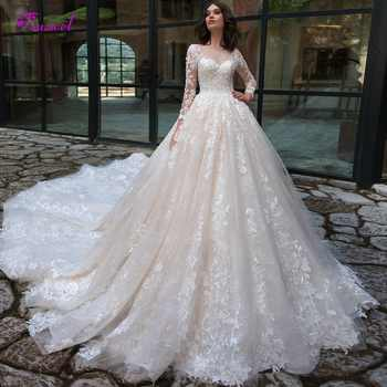 Gorgeous Appliques Chapel Train Lace A-Line Wedding Dresses 2020 Sexy Scoop Neck Long Sleeve Vintage Bride Gown Vestido de Noiva - DISCOUNT ITEM  45 OFF Weddings & Events