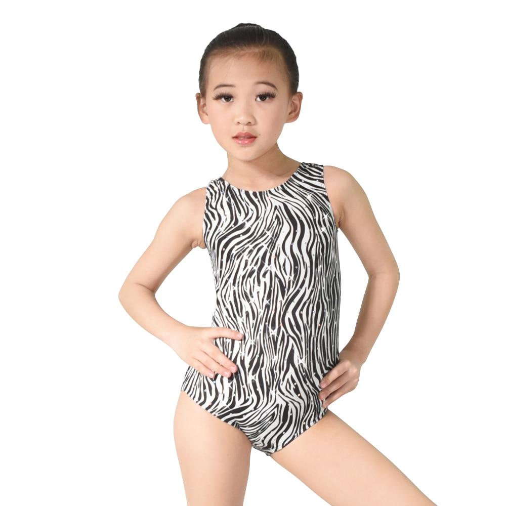 MiDee 레오타드 댄스 체조 발레 댄스 의상 훈련 성능 지하실 얼룩말 장식 조각 반짝이