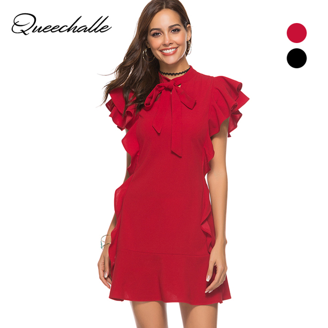 bbecfa71ea Queechalle Summer Dress Black Red Tied Neck Butterfly Sleeve Sexy Mini Dress  Women Ruffle Hem Zipper Back Sheath Dress Party
