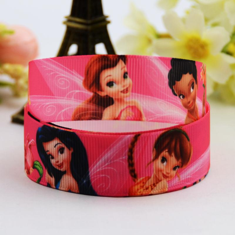 7/8 (22mm) Tinker Bell Cartoon Character printed Grosgrain Ribbon party decoration satin ribbons OEM 10 Yards X-00712