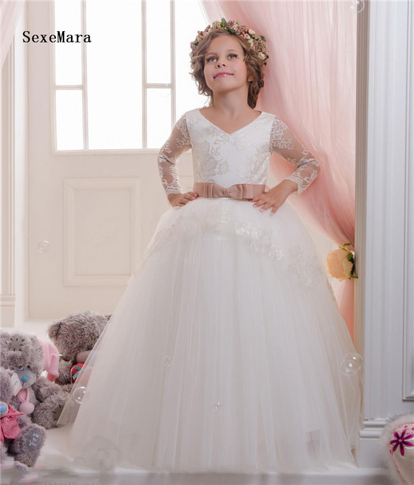 New Ivory White Flower Girls Dresses for Wedding V Neck Long Sleeve Lace Puffy Tulle Kids Wedding Party Birthday Pageant Dress kids girls long sleeve white girl flower dress pageant wedding party formal occasion bridesmaid wedding girls tulle dress