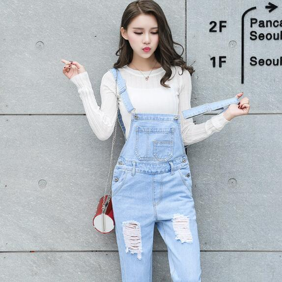Skillful Knitting And Elegant Design Jumpsuits 2018 Korean New Womens Jumpsuit Denim Overalls Office Skinny Girls Pants Jeans Ah99 To Be Renowned Both At Home And Abroad For Exquisite Workmanship