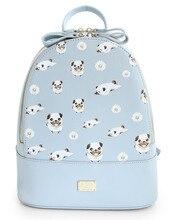 Ensso Новинка цветочный животного с принтом собаки для девочек в цветочек синий на молнии сумки PU кожаные женские сумки Книга Сумка Рюкзак сумки