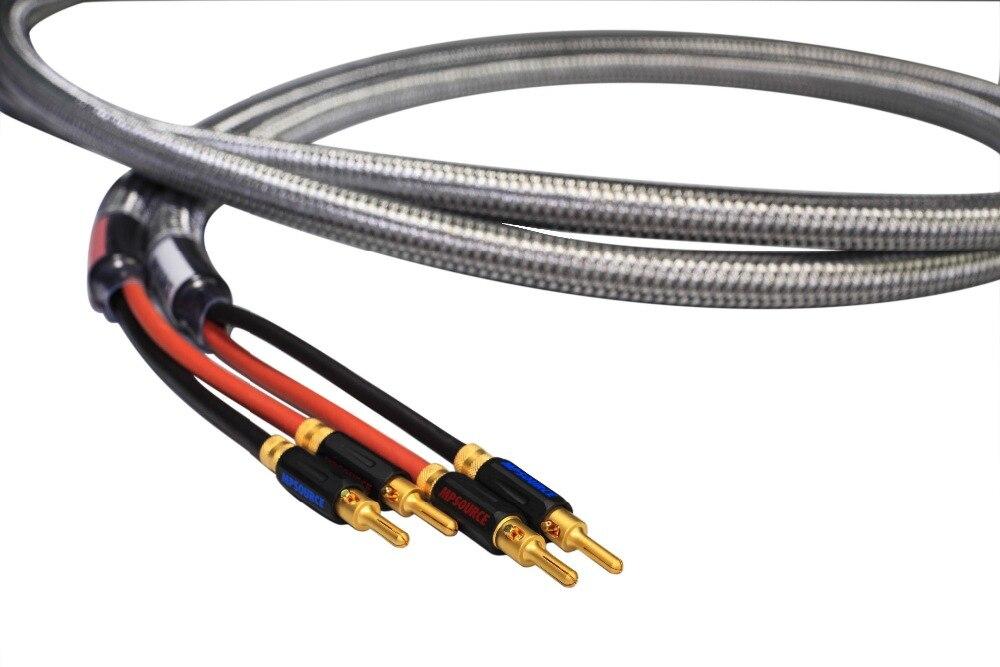 MPSource Tena Hi end 99.99997% OCC 24 K plaqué or connecteur de haut-parleur banane plug Bi fil haut-parleur amplificateur de câble audio 1 paire - 4