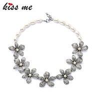Elegante Romantische Ovale Imitatie Parels Chain Shiny Bloemen Kraag Ketting Valentines Gift Fabriek Groothandel