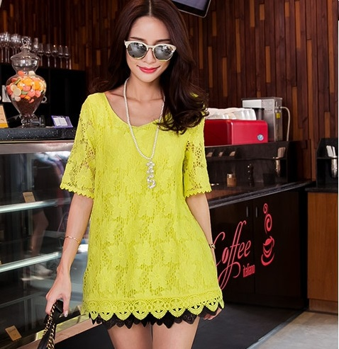 2015New women summer style crochet hollow out lace shirt loose flare sleeve cute flare tops juniors casual blouse plus sizeXXXXL