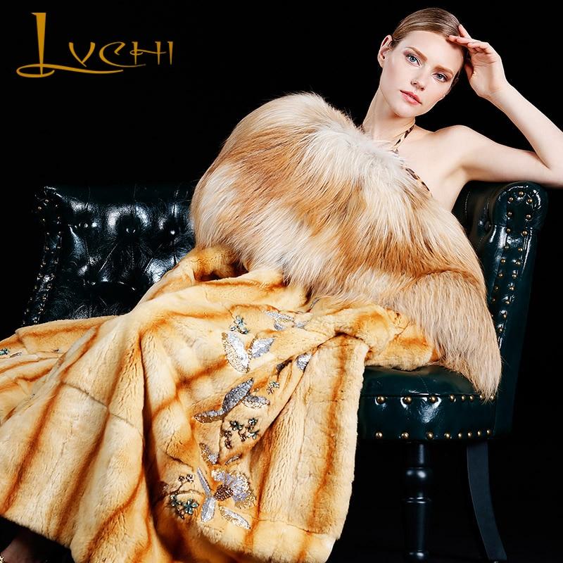 LVCHI 2017 Natural fur winter Long coat luxurious import Limited customization real mink Wild fox Collar Platinum grade fur coat