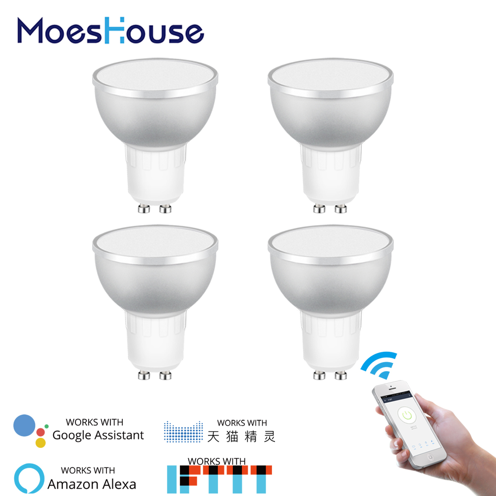 WiFi Smart LED Light Bulb 2700 6500k RGBCW Warm White Daylight Multicolor 50W Equivalent Work with Alexa Google Home GU10 4 Pack-in Smart Home Control from Home Improvement    1
