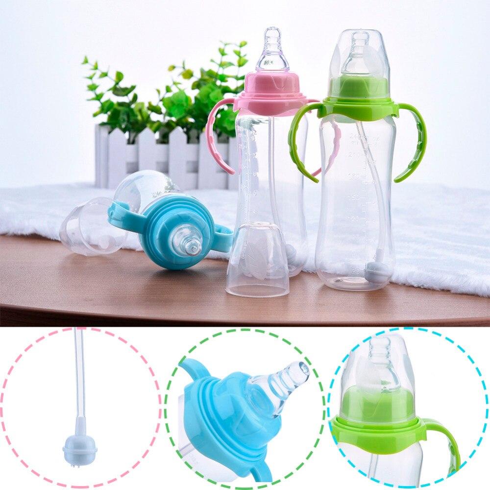 240ml Babyflaske Spedbarn Nyfødte Barn Lær Fôr Drikkehåndtak - Baby mating - Bilde 2