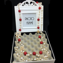 XL37 ювелирные изделия камелии известный бренд neckless длинный жемчуг sautoir collier femme ожерелье из жемчуга collargos женщин