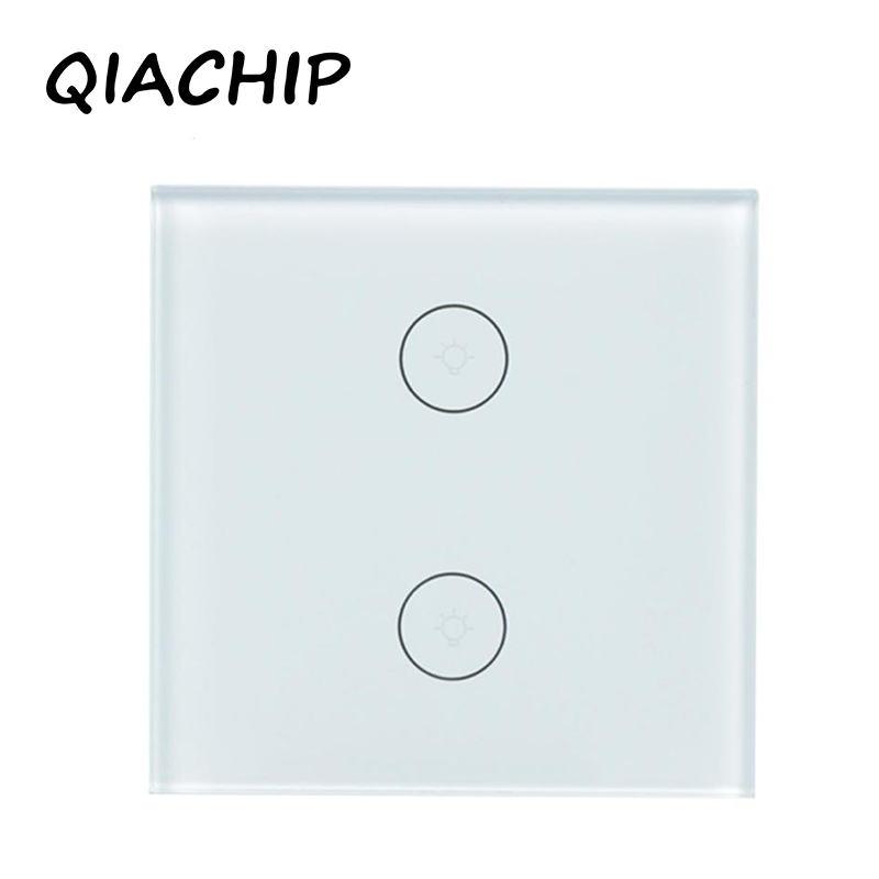 QIACHIP UK 2 Gang WiFi Smart Switch Wireless Light Wall Touch Panel Work with Amazon Alexa Google Home Luxury Switch