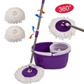 Easy Magic Floor Mop 360 Bucket 2 Heads Microfiber Spin Spinning Rotating Head  CL11435
