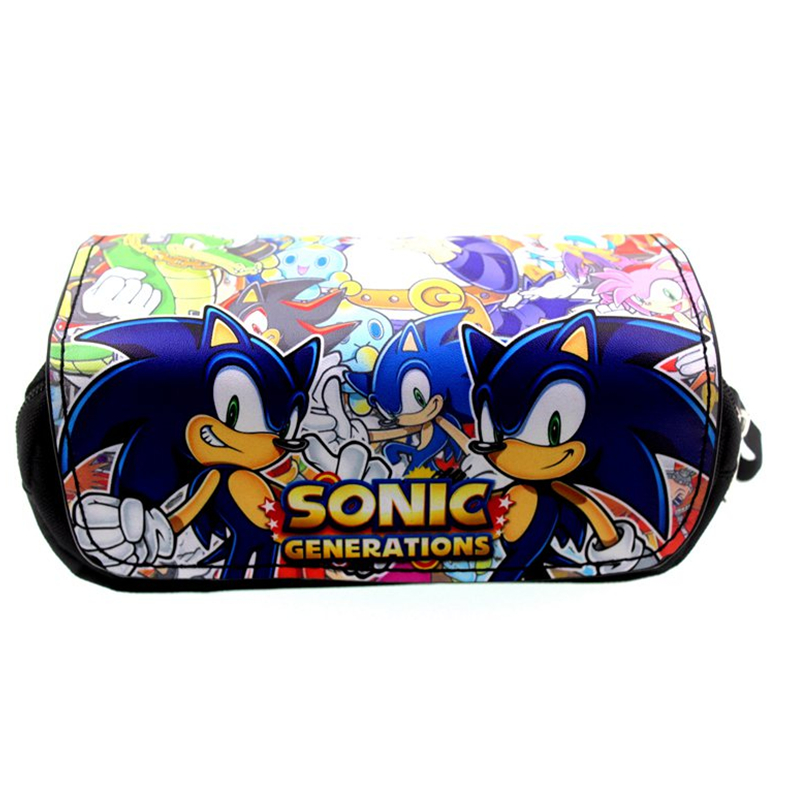 New Sonic The Hedgehog Pencil Case Student Stationery Bags Zipper School Pen Bags Cosmetic Makeup Case Bag Cartoon Gift