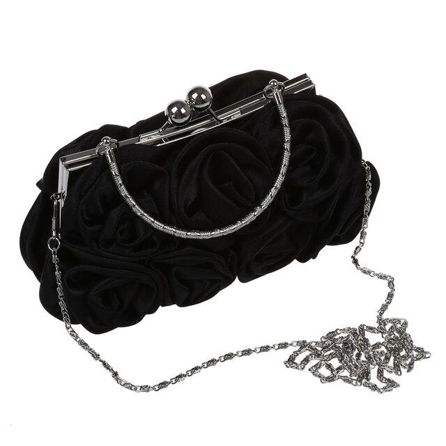 Rosette Clutch Bag Evening Black Flower Purse Handbag Banquet