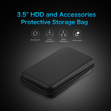 """EVA Shockproof 3.5 inch Hard Drive Carrying Case Pouch Bag 3.5"""" Organizer Portable External HDD Power Bank Cable Accessories Hand Carry Travel Case Protect Bag"""