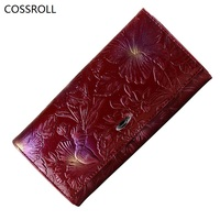 New Luxury Brand Women Wallets Genuine Leather Wallet Long Flower Pattern Women Purses Real Leather Ladies