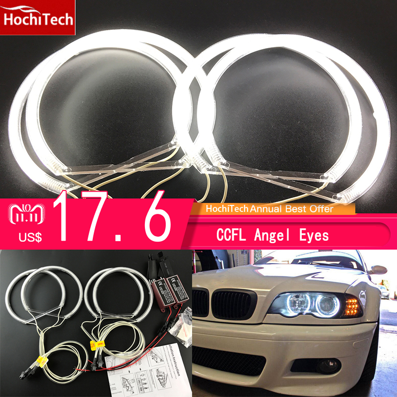 HochiTech CCFL Angel Eyes Kit Warm White Halo Ring 131mm*4 For BMW E36 E38 E39 E46 (With Original Projector) цены
