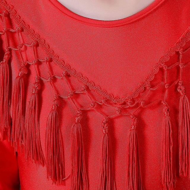 Filles Rumba robe de danse Junior robe latine frangée Salsa genou longueur robe pour danse de salon