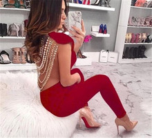Top Quality Rompers Womens Jumpsuit Backless Beading Sleeveless Bandage Jumpsuit