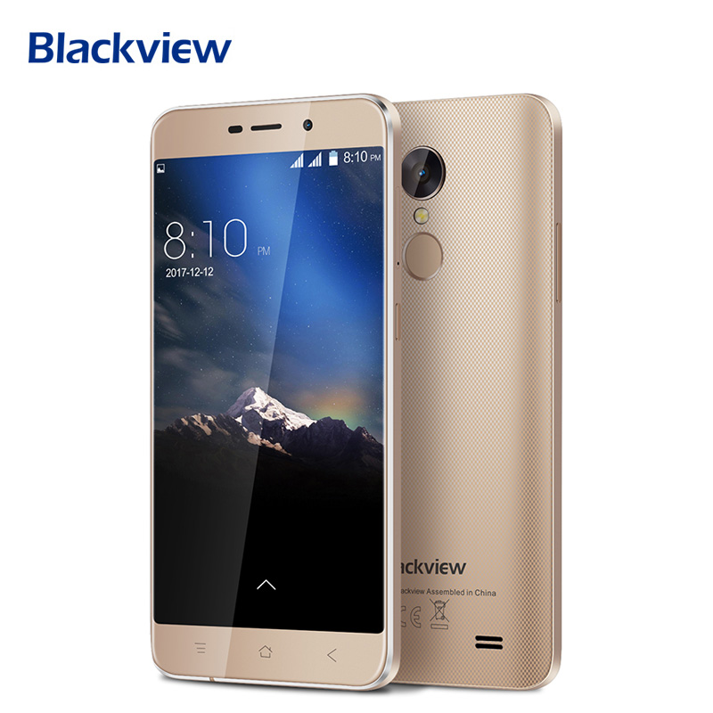 In Stock Blackview A10 3G Dual Sim Card Smartphone 5.0 Inch Quad Core 2+16 Mobile Phone Android 7.0 Nougat Fingerprint Cellphone