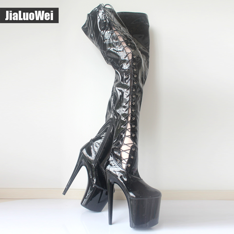 reputable site 57b24 e15bf US $118.0 |Jialuowei 8 inch ultra high heel fetish Sexy Over the knee Long  Boots Pleaser Stretch Platform Thigh High Boots Side Ribbon Lace-in ...