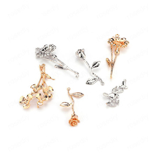 6PCS 24K Gold Color Plated Brass Flower Charms Pendants Diy Jewelry Findings Earrings Accessories Wholesale