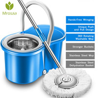 360 rotating mops Kitchen floor cleaning Portable stainless double drive hand pressure spin Microfibre Fabric head with bucket