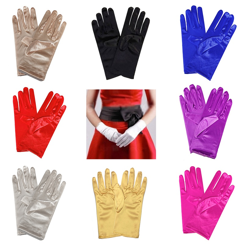 Vintage Satin Opera Evening Party Gloves Women Performance Show  Solid Color Prom Stretch Halloween Hotel Waiter Short Gloves