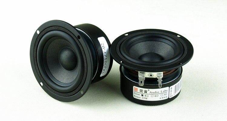 2PCS Audio Labs 3'' Full Range/Frequency Speaker Unit Wool Cone Speaker Shielded Round 4/8ohm D89mm 15W 1pcs magnetically shielded 3 inch full range speaker unit speaker av 3301f 60w 4 ohm for amplifier