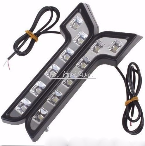 Universal car Style L Shape 12V LED Daytime Driving Running Light DRL Car Fog Lamp car lights auto car styling personality