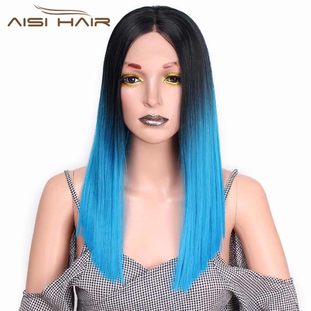 I's a парик Ombre Синий прямой длинный 20 дюймов синтетический кружевной передний парик для черных или белых женщин Термостойкое волокно