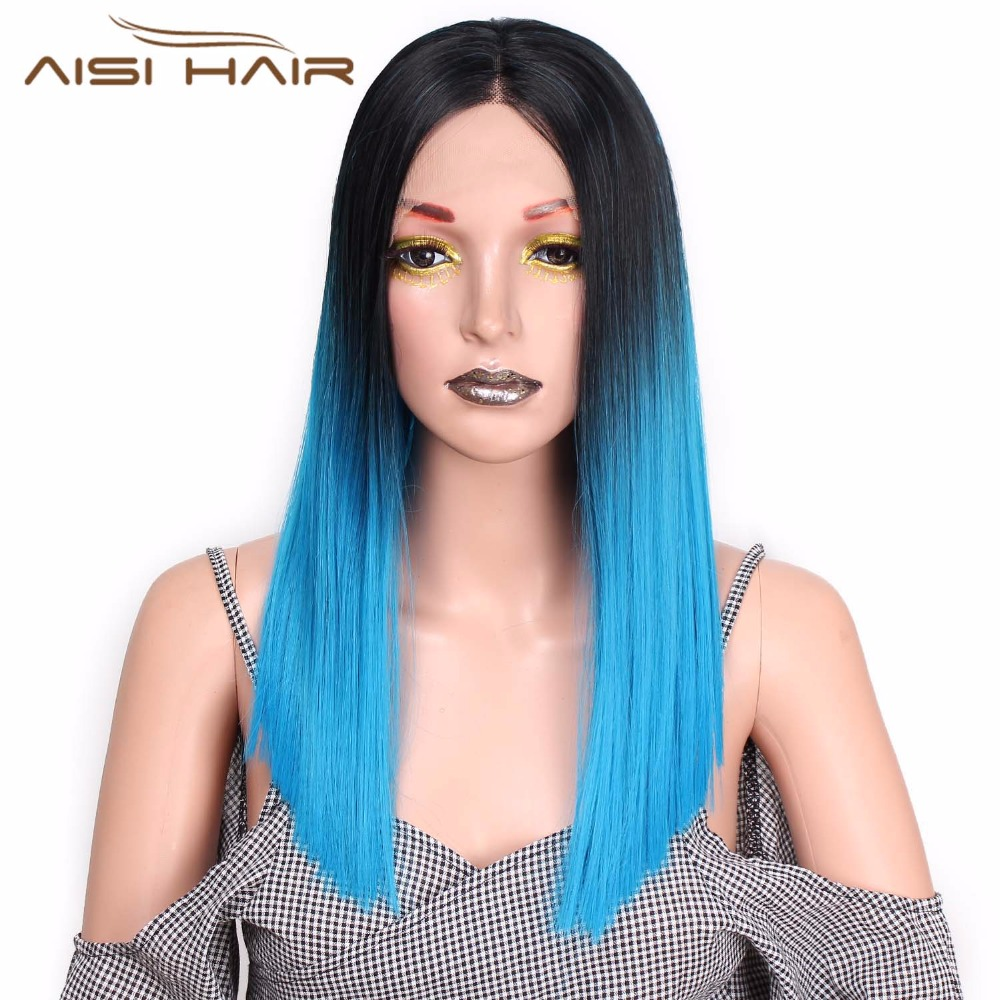 I's A Wig Ombre Blue Straight Long 20 Inches Synthetic Lace Front Wig For Black Or White Women Heat Resistant Fiber