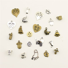 Fashion Jewelry Making Baby Stroller Palms Bottle Cup Jewelry Findings Components Mix Pendant(China)