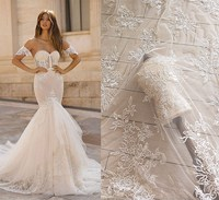 Ivory White Cotton Sequin Embroidery Lace Fabric Wedding Dress, Garment, Veil Material RS2606