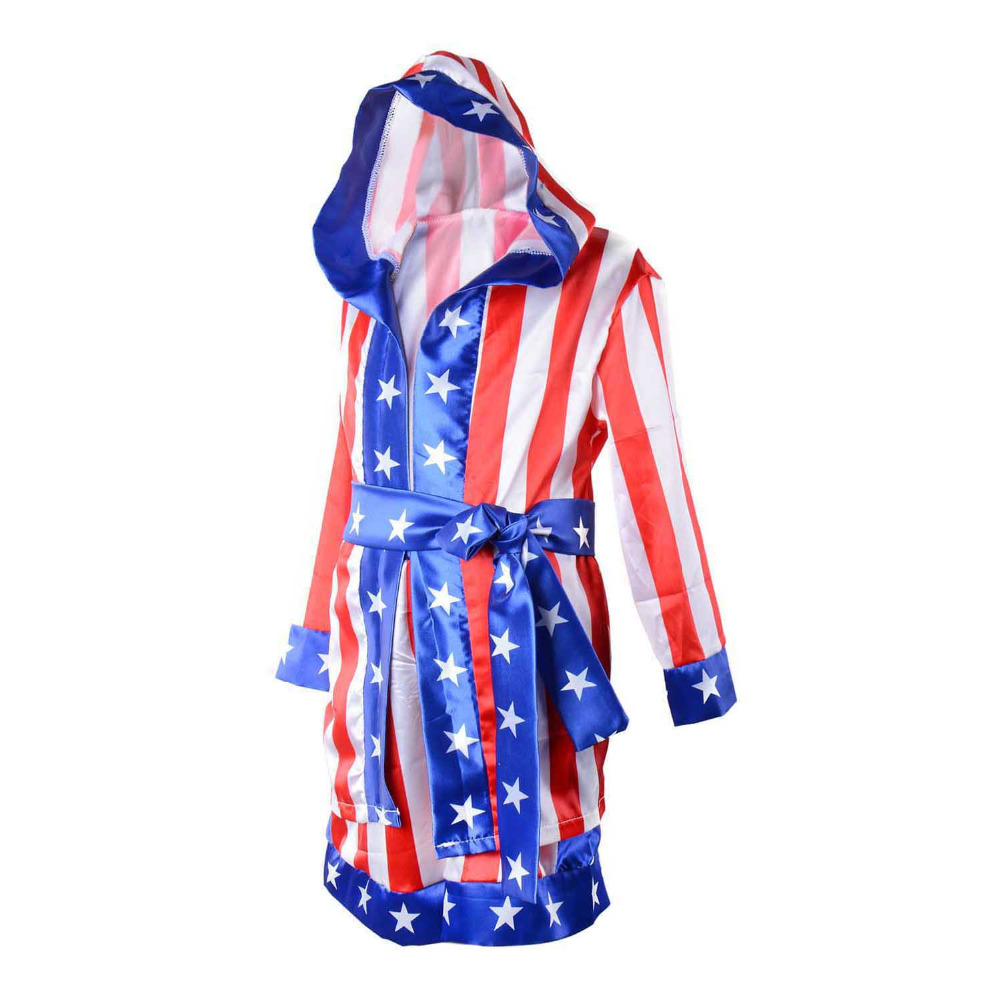 d3dbce25c215 Rocky Balboa Apollo Boxing Robe World Champion Costume Kids American Flag  Boxing Costume Outfit Hooded Cloak Robe Belt Shorts -in Boys Costumes from  Novelty ...