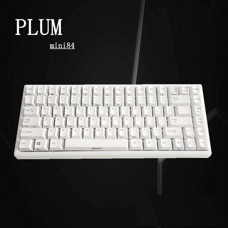 PLUM 84 White Mechanical Gaming Keyboard White Backlit Antighosting White PBT Keycaps MAC windows Android Gateron