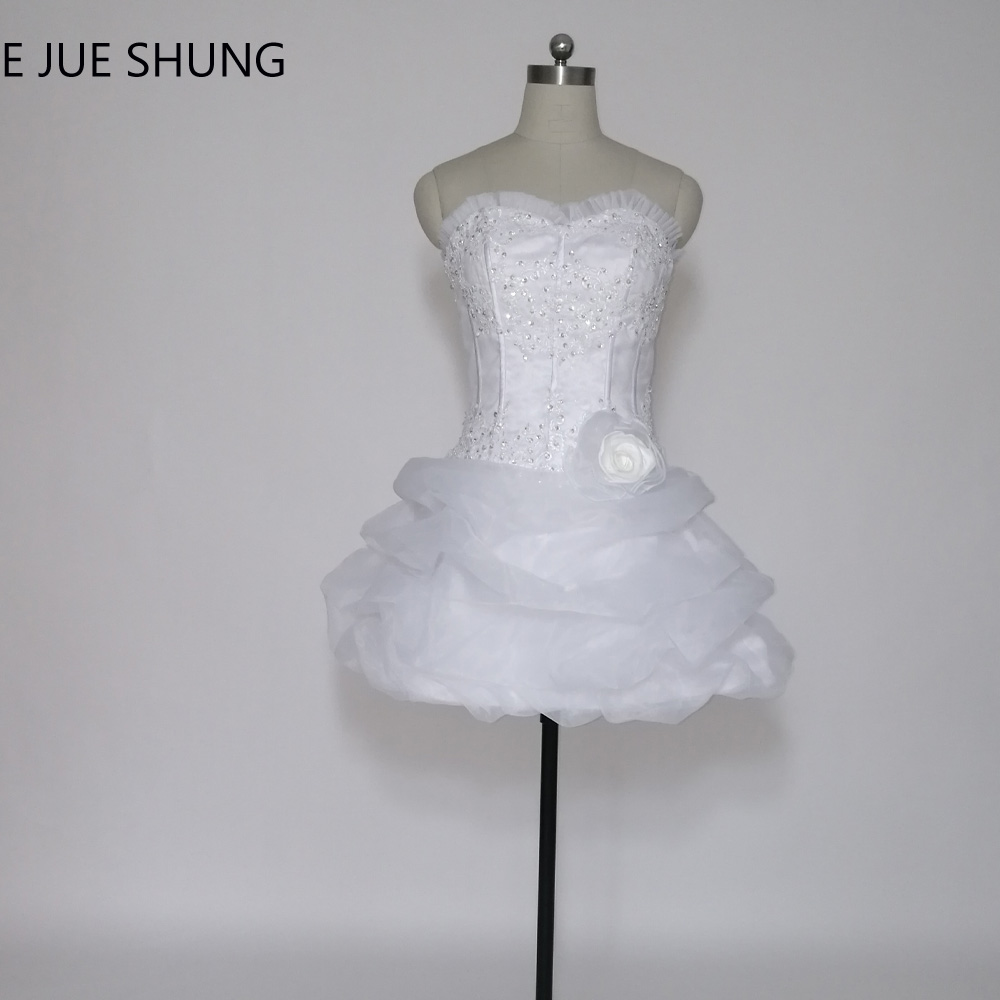E JUE SHUNG vestido de noiva curto White Organza Short Wedding Dresses Lace Appliques Beaded Lace Up Back Short Wedding Gowns