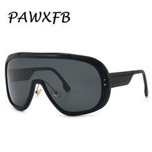 PAWXFB 2019 Vintage Goggle Sunglasses Women Men Fashion Oversized Sun Glasses Big Frame Eyewear
