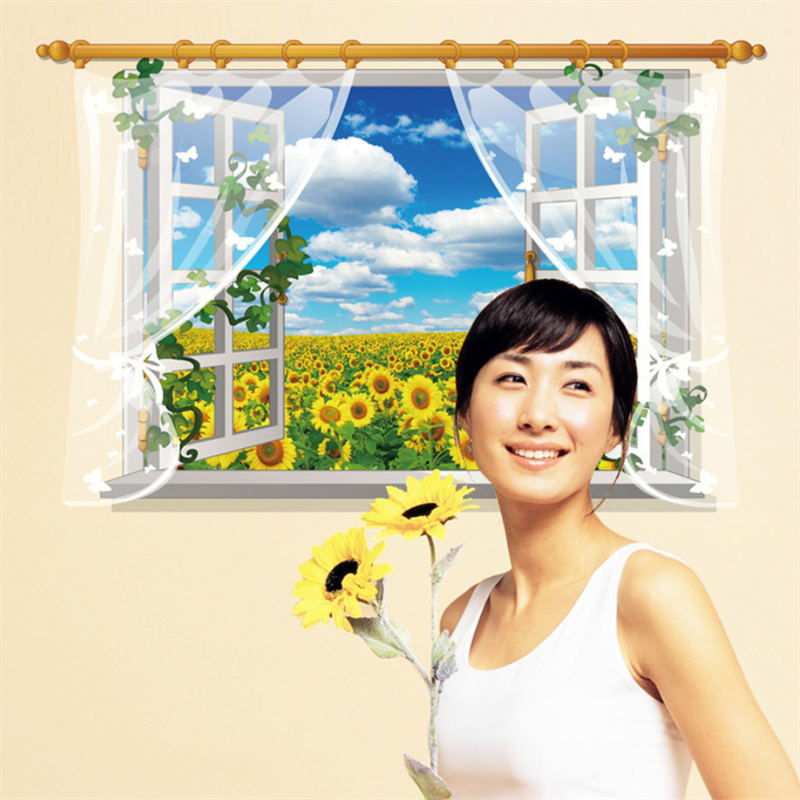 3D Sunflower Flower Field Wall Sticker Decal SK9020A. Art Decor Living Room  Decoration Window Mural