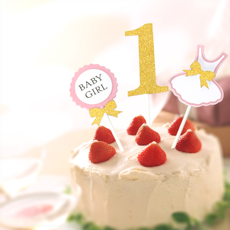 3pcsset First Birthday Cake Topper Flag Baby Boy Girl 1 Year Old