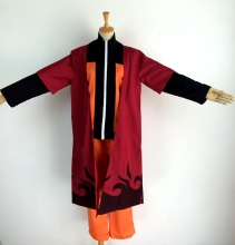 Uzumaki Naruto Cosplay Costume Hallween Clothes Shirt+Pants+Cloak