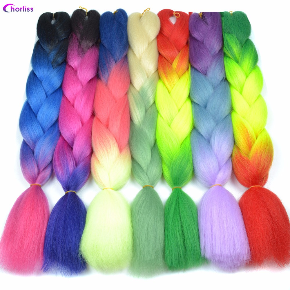 Hair Braids Jumbo Braids Reliable Feilimei Ombre Green Colored Crochet Hair Extensions Kanekalon Hair Synthetic Crochet Braids Ombre Jumbo Braiding Hair Extension